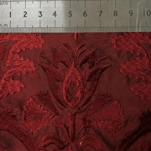 032 BURGUNDY FLORAL EMBROIDERY SILK FABRIC Made To Order Fabrics Shaun Gordon