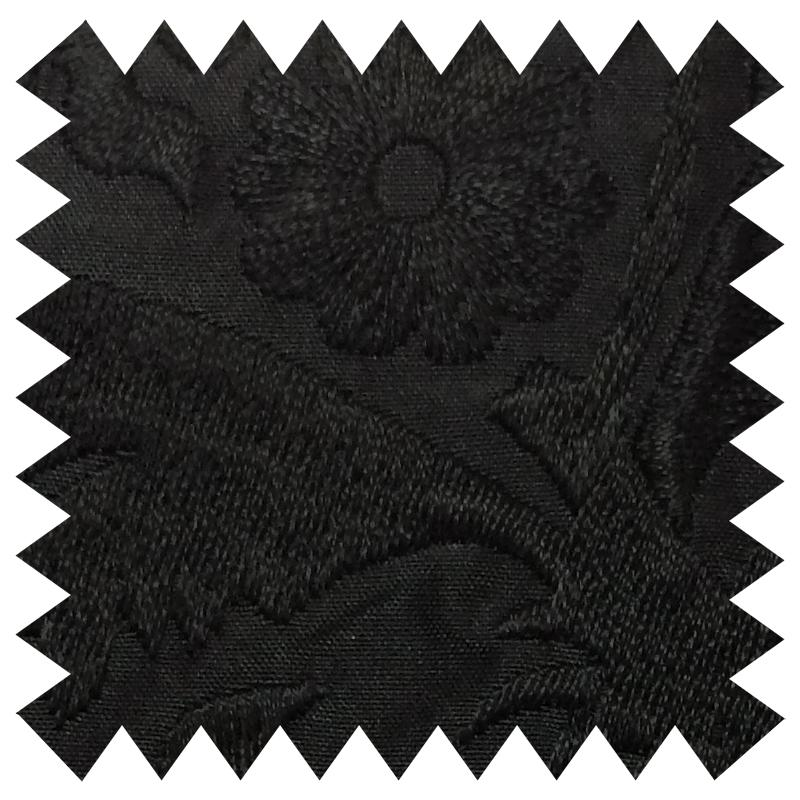 033 BLACK FLORAL EMBROIDERY SILK FABRIC Made To Order Fabrics Shaun Gordon