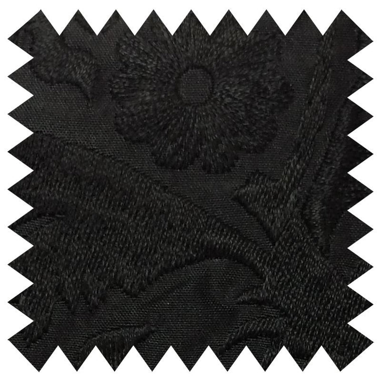 033 BLACK FLORAL EMBROIDERY SILK FABRIC