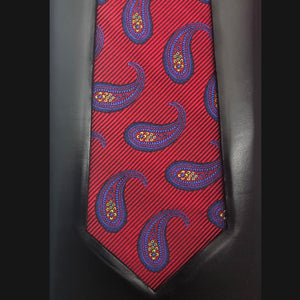 036 RED, BLUE & YELLOW PAISLEY SILK FABRIC MADE TO ORDER TIE
