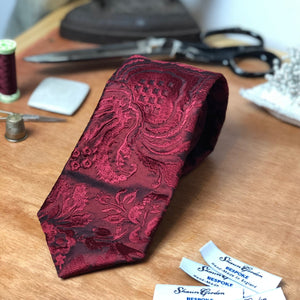 032 BURGUNDY FLORAL EMBROIDERY SILK MADE TO ORDER TIE