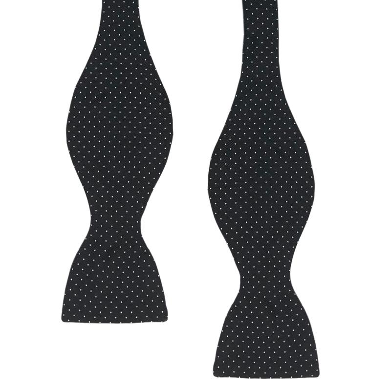 REGENT BLACK AND WHITE PIN SPOTS BOW TIE