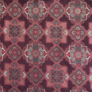 018 BURGUNDY LARGE MEDALLIONS SILK FABRIC