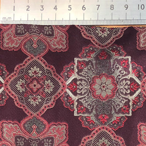 018 BURGUNDY LARGE MEDALLIONS SILK MADE TO ORDER TIE