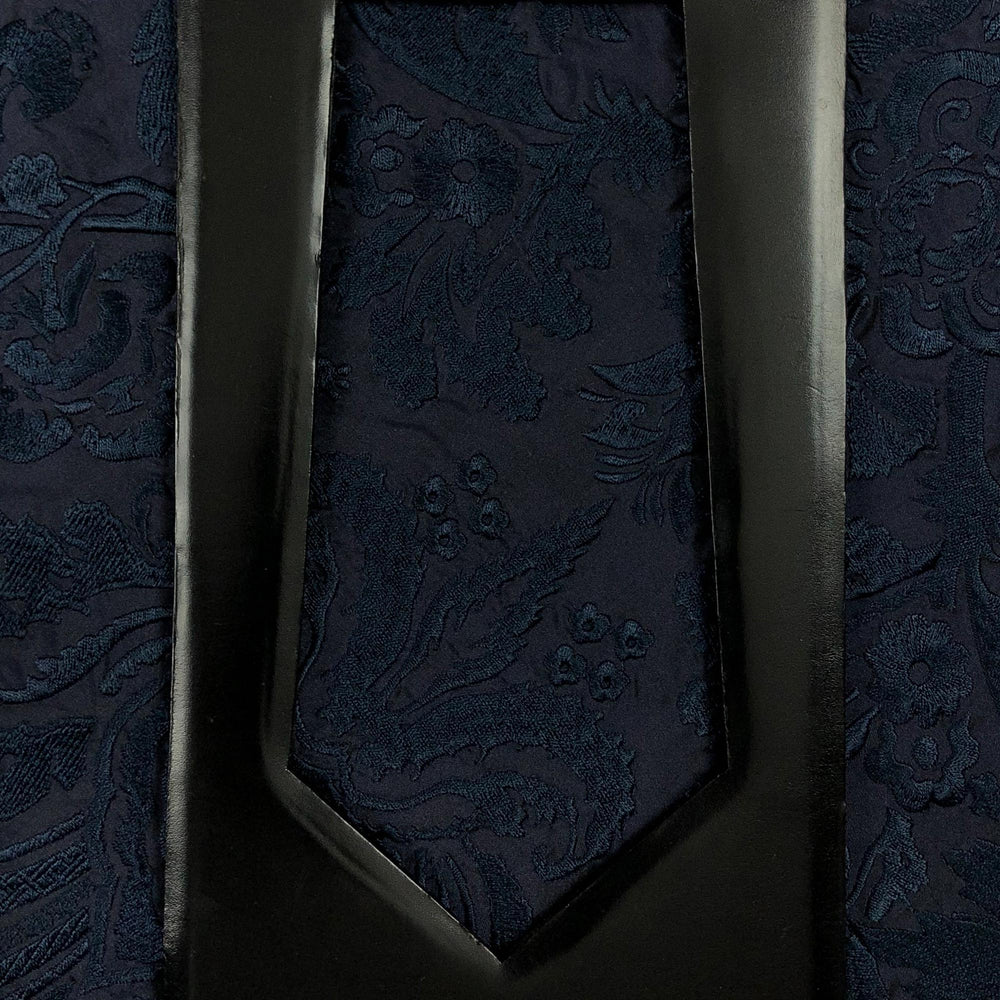 031 NAVY FLORAL EMBROIDERY SILK MADE TO ORDER TIE