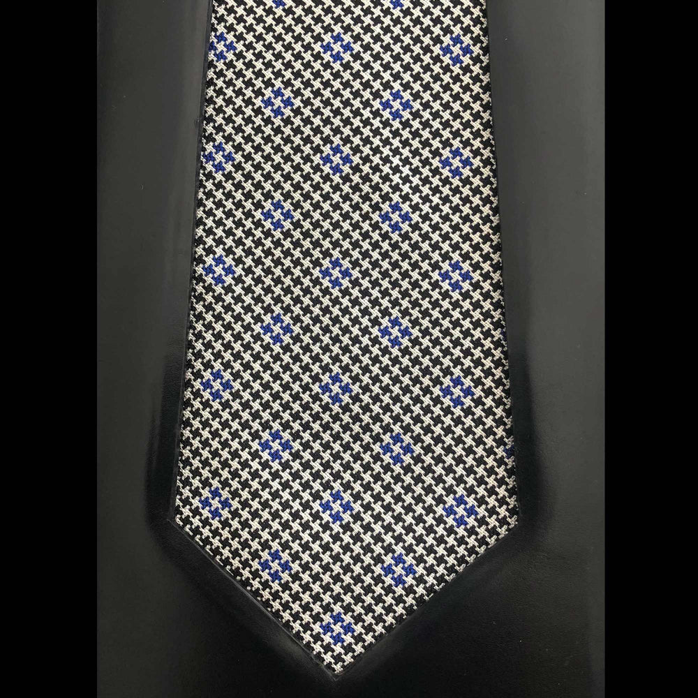 035 BLACK WHITE & BLUE HOUNDSTOOTH SILK MADE TO ORDER TIE
