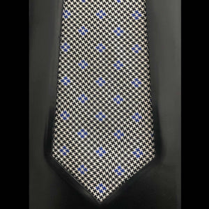 035 BLACK WHITE & BLUE HOUNDSTOOTH SILK FABRIC