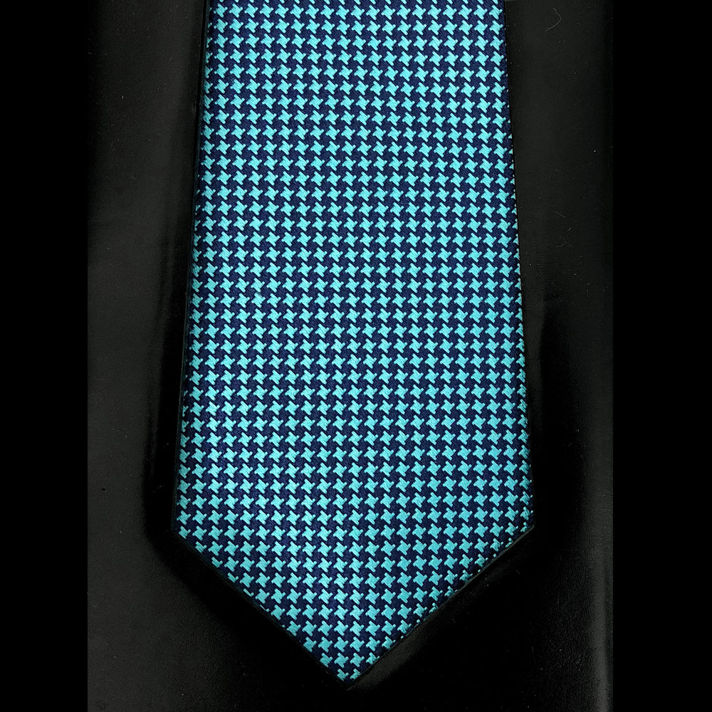 040 TURQUOISE  NAVY HOUNDSTOOTH SILK MADE TO ORDER TIE