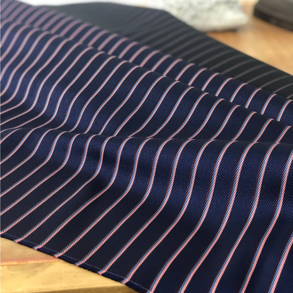 041 NAVY MAROON, PINK AND BLUE STRIPE SILK FABRIC