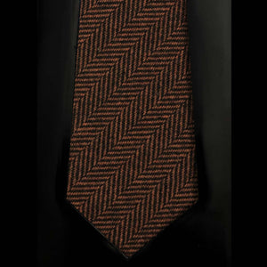 065 BROWN BLACK HERRINGBONE CASHMERE MADE TO ORDER FABRIC TIE