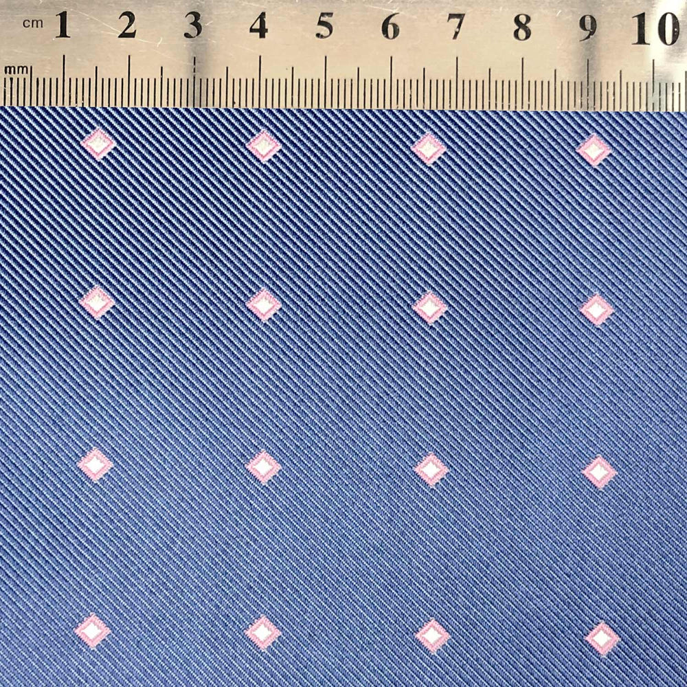 071 BLUE PINK SQUARES SILK MADE TO ORDER FABRIC TIE