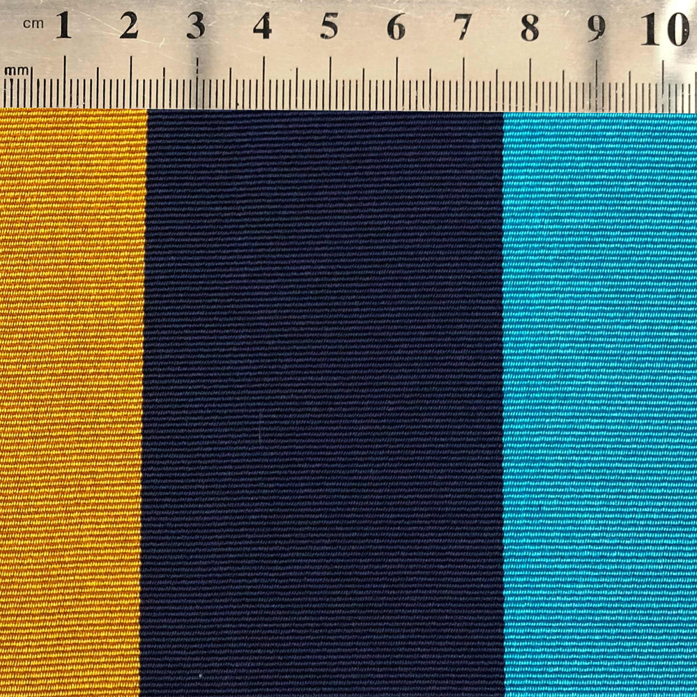 077 BLUE YELLOW TURQUOISE WIDE STRIPE REPP SILK MADE TO ORDER TIE