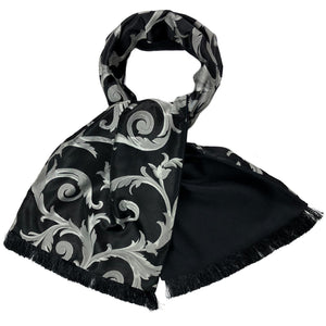 Isaac Black Floral Vines Silk & Cashmere Backed Scarf