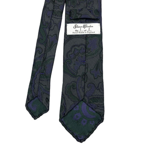 1 OF 1 SPECIAL EDITION GREEN PURPLE PAISLEY FLORAL SILK TIE