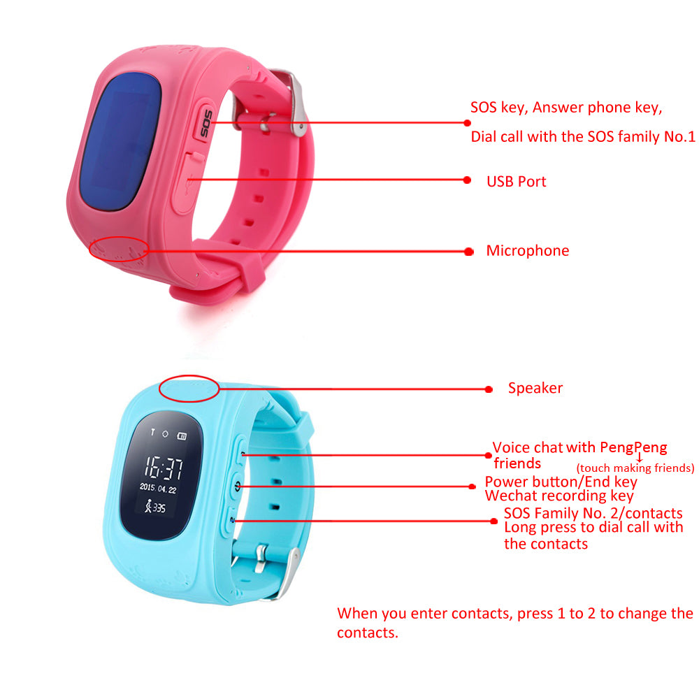 Anti Lost Child GPS Tracker GPS Watch Compatible IOS & Android | Ego-Silencer