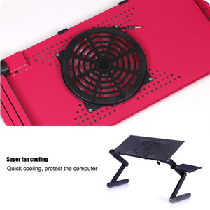 Adjustable Computer Laptop Desk with Fans and Without Fans, Black and Pink  | Ego-Silencer