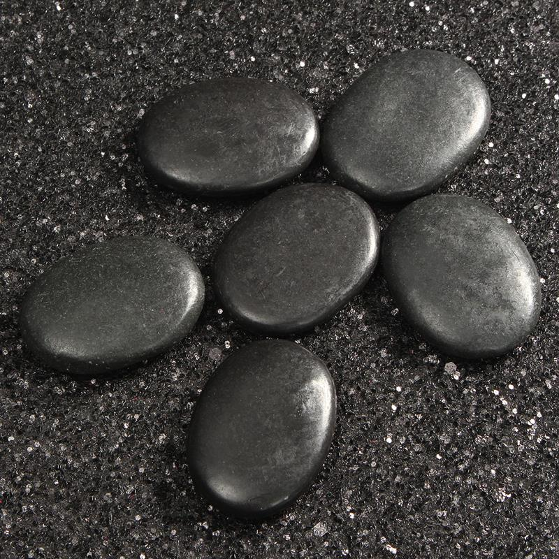 Convenient 7pcs Black Hot Spa Rock Basalt Energy Toe Face Oval Stones Massage Therapy Lava Natural Health Care Relaxation