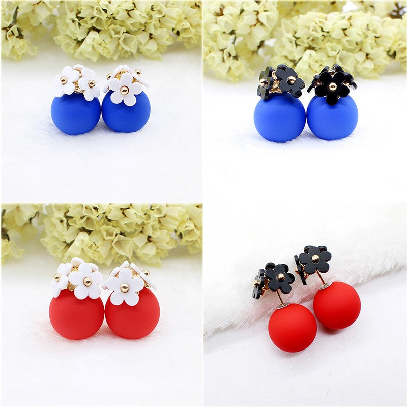 Simulated Pearl Ball Flower Two Side 18 Colors Earrings | Ego-Silencer