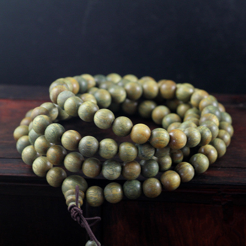 108 Natural Green Wood Sandalwood Meditation Bracelets | Ego-Silencer