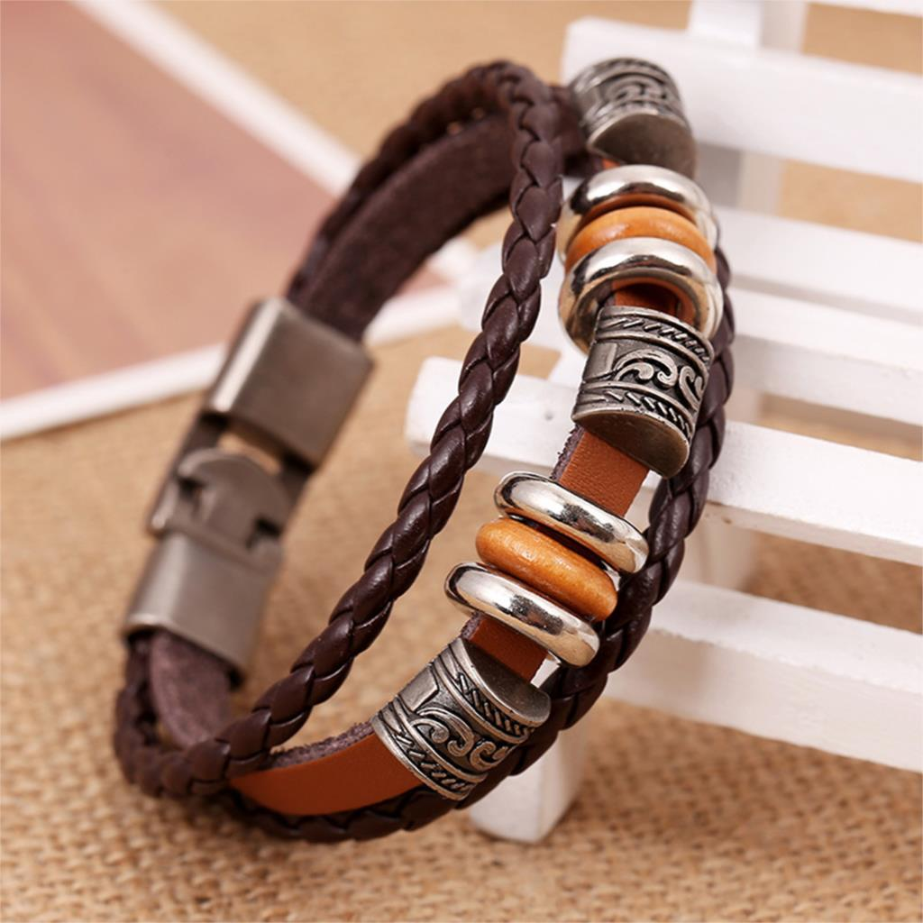 Handmade Vintage Woven Elegant Brown Leather Bracelets | Ego-Silencer