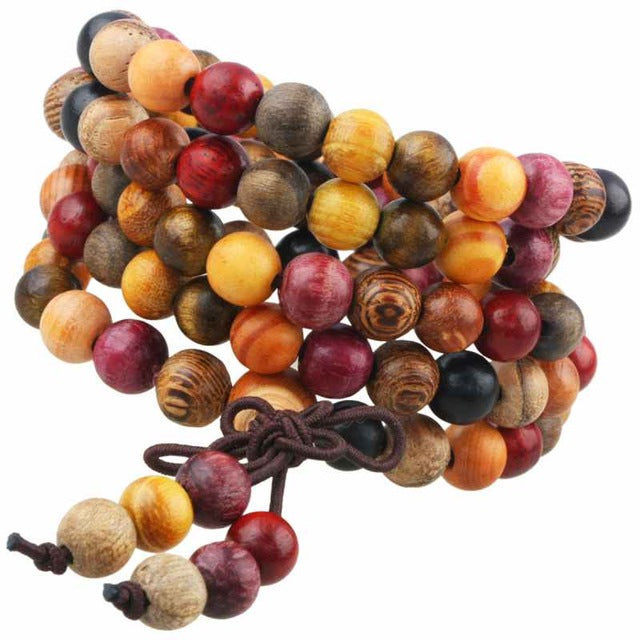 108 Natural Wood Beaded Tibet Buddhism Buddha Mala Prayer Beads 6mm | Ego-Silencer