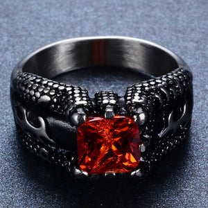 925 Sterling Silver Retro Ring Fine Jewelry Size 9-14 Gorgeous Red & Black Titanium Steel Ring | Ego-Silencer
