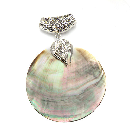 Antique Silver Plated Abalone Natural Mother of Pearl Shell Pendant | Ego-Silencer