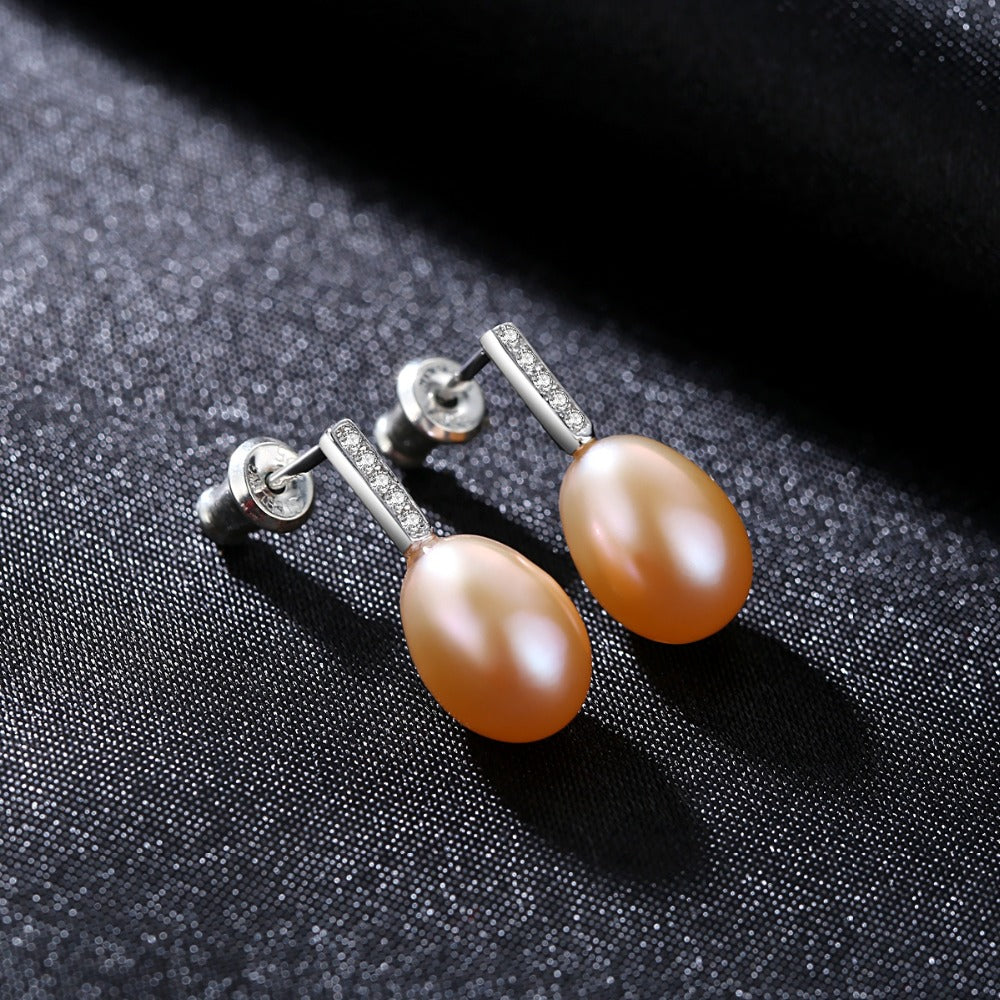 925 Sterling Silver 3 Colors 8-9mm Freshwater Natural Pearl Earrings | Ego-Silencer