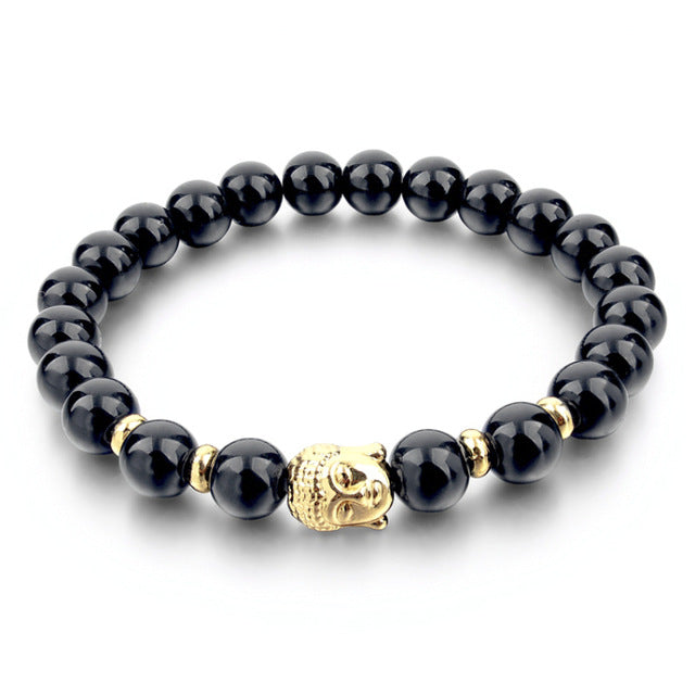 Natural Stone Bead Buddha 15 Colors Bracelet | Ego-Silencer
