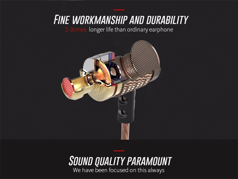 Gold Plated Noise Cancelling Earphone Stereo with Microphone | Ego-Silencer
