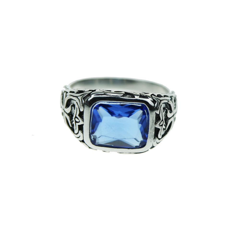 925 Sterling Silver Ring Blue Natural Crystal Stone with Hollow Engraved Flower | Ego-Silencer