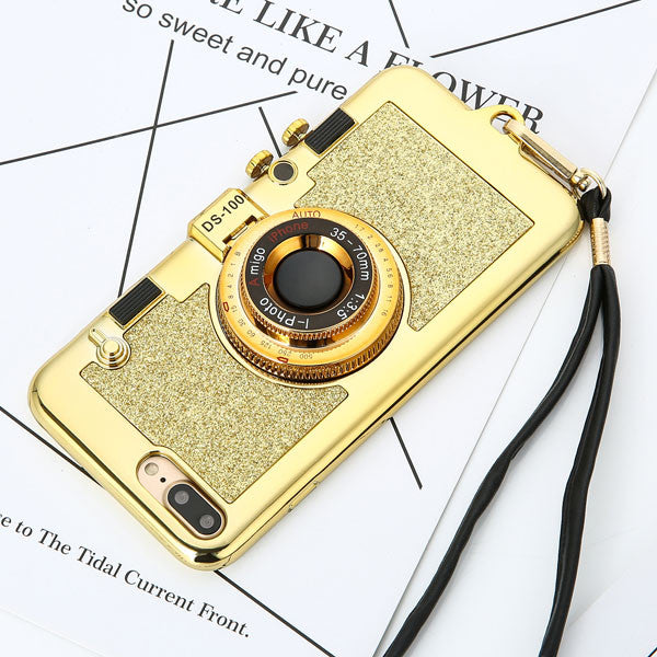 3D Retro Camera Phone Cases For iphone 7 6 6s Plus Case Fashion Plating Soft Back Cover Long Strap Rope With Stand Holder | Ego-Silencer