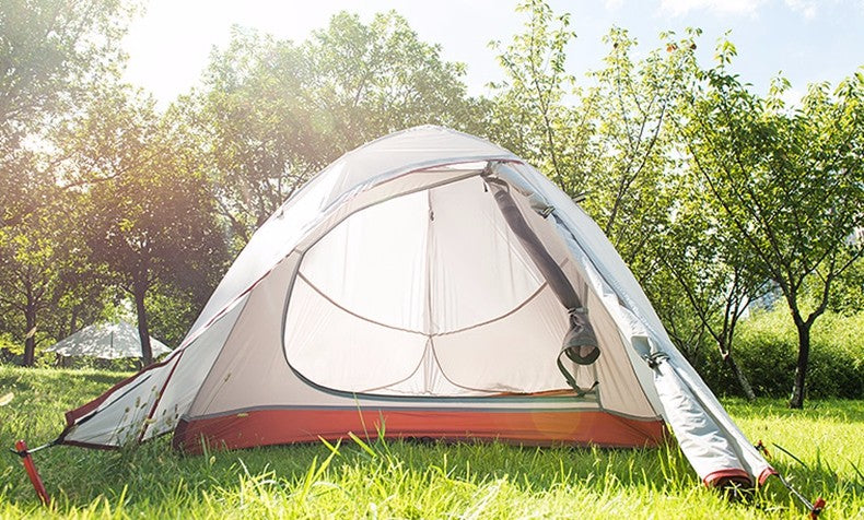 2 Person Double Layers Aluminum Rod Camping Tent 4 Season With 2 Person Mat | Ego-Silencer