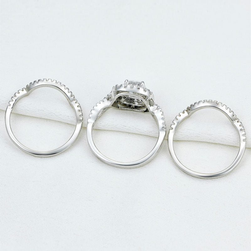 925 Sterling Silver 2.1Ct 3Pcs Silver Wedding Ring Sets Size 5 6 7 8 9 10 | Ego-Silencer