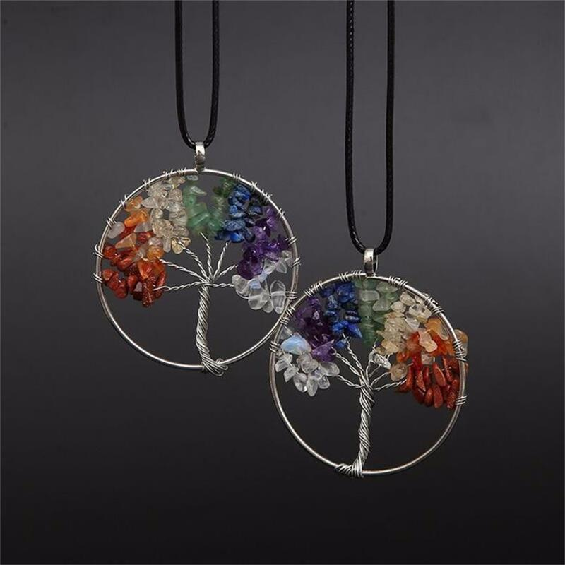 Tree Of Life 7 Chakra Pendant Necklace Multicolor Natural Stone | Ego-Silencer