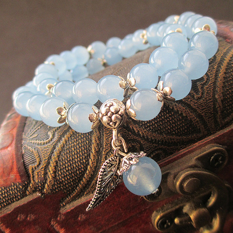 Blue Crystal Bracelets Round Beads Lucky Tibetan Silver Leaf Pendant | Ego-Silencer