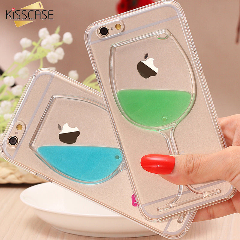 KISS CASE For iPhone 6 6S 6 6S Plus Case Ultra Crystal Clear Cover For iphone 6 6S Plus Wine Glass Liquid Hourglass