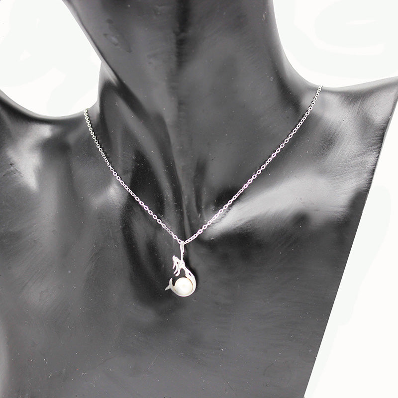 925 Sterling Silver Mermaid Chain Pendant Chain Necklace White Freshwater Pearls | Ego-Silencer