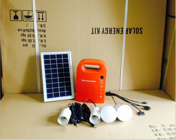 Portable 3W Mini Solar Home System Solar Energy Kit Solar Generator with 2 Bulbs Lead Acid Battery | Ego-Silencer