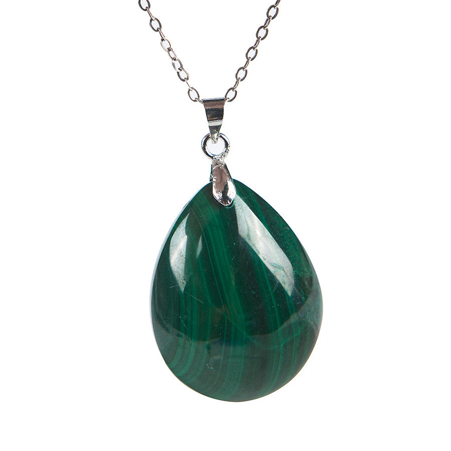 Genuine Green Chrysocolla Malachite Natural Stone Waterdrop Bead Pendant 25x19x9mm | Ego-Silencer