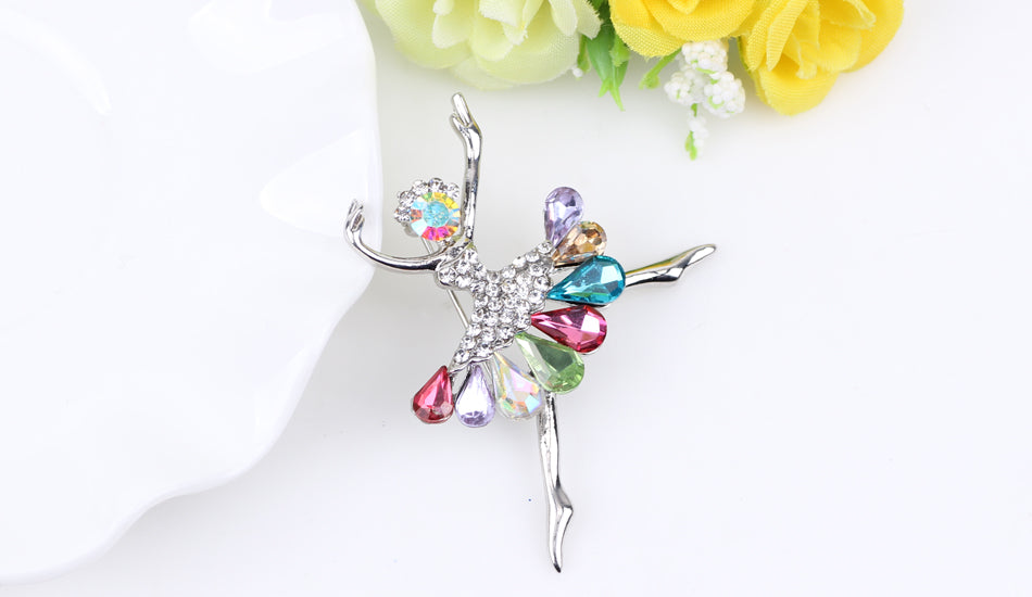Rhinestone Ballet Dancer Girl Brooch | Ego-Silencer