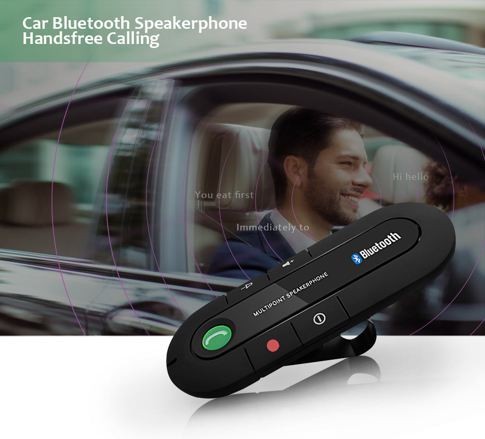 Bluetooth Handsfree Car Kit Wireless Bluetooth Speaker Phone MP3 Music Player Sun Visor Clip Speakerphone with Car Charger | Ego-Silencer