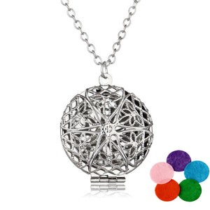 Aromatherapy Locket Necklace Silver/Bronze color with Madala Flower Oil Diffuser Necklace | Ego-Silencer