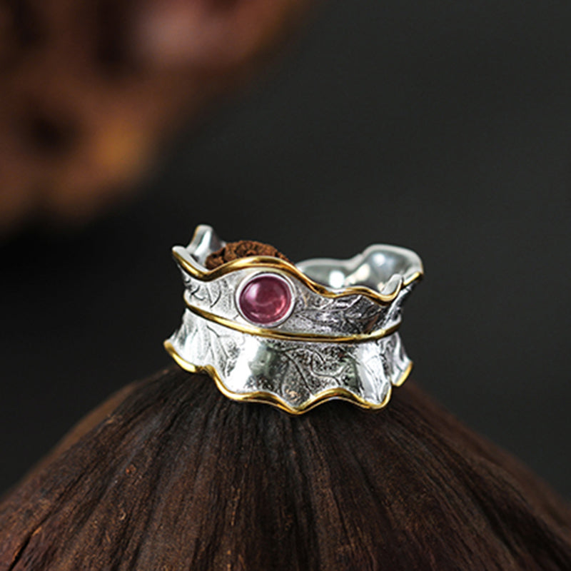 925 Sterling Silver Ring Natural Tourmaline Handmade Designer Leaf Ring | Ego-Silencer