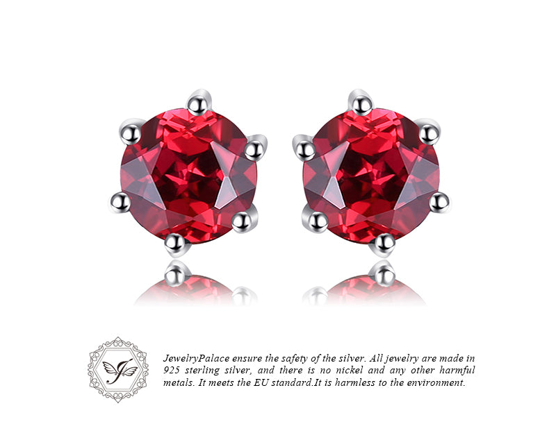 925 Sterling Silver Red Round Gemstone Natural Garnet Earrings | Ego-Silencer