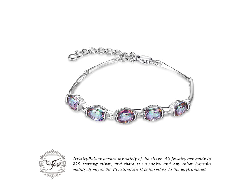 925 Sterling Silver Genuine Natural Mystic Rainbow Topaz Tennis Bracelet | Ego-Silencer