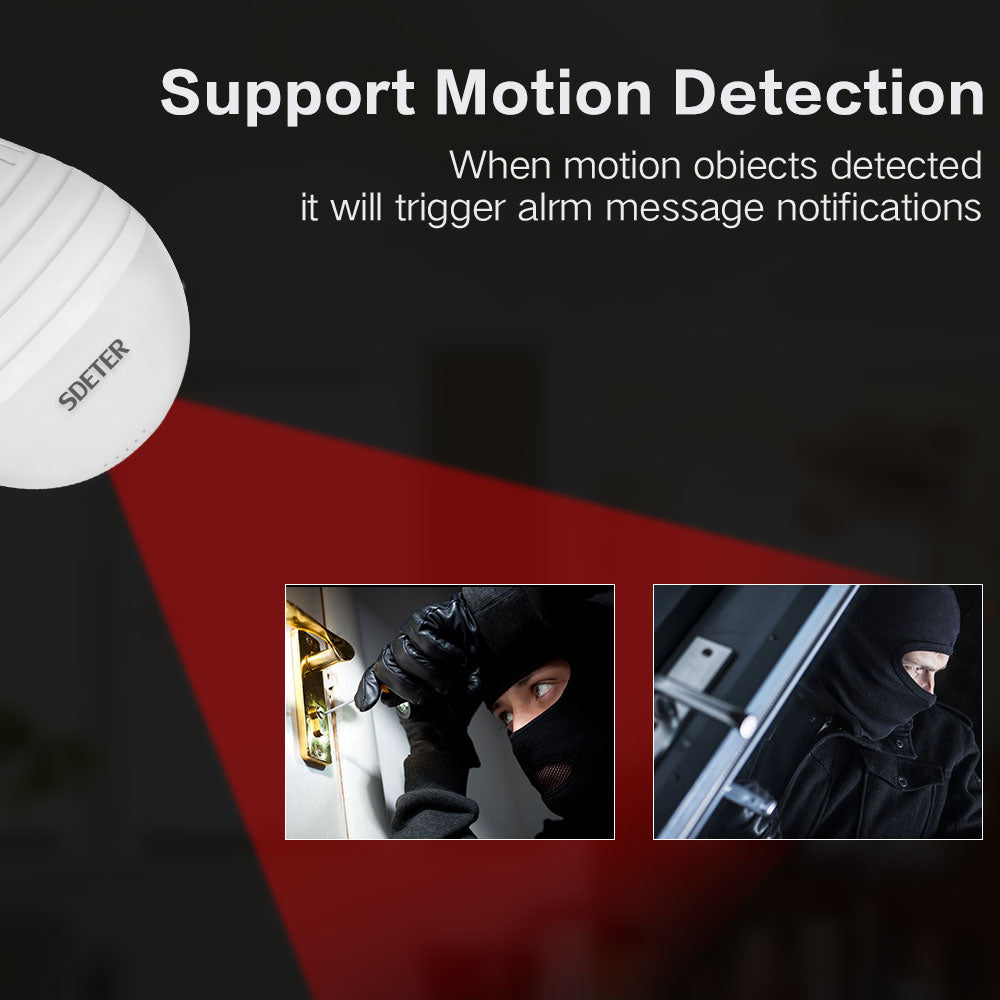 960P Bulb Light Wireless IP Camera 360 Degree Panoramic FishEye Security Motion Detection Camera | Ego-Silencer
