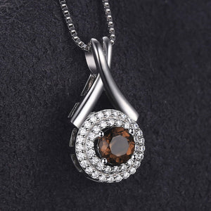 925 Sterling Silver 0.65ct Natural Smoky Quartz Round Pendant Without Chain | Ego-Silencer