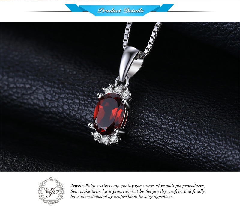 925 Sterling Jewelry 1.2ct Oval Natural Garnet Pendants - Chain Not Included | Ego-Silencer