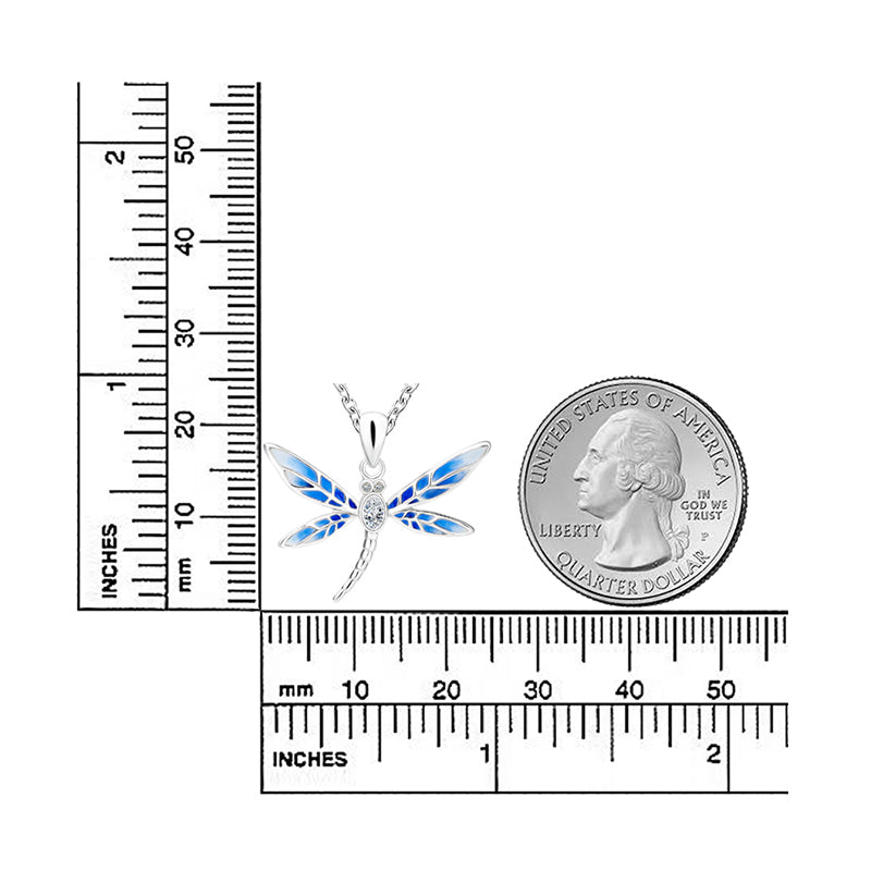 925 Sterling Silver Blue Dragonfly with Zirconia Necklaces & Pendants | Ego-Silencer